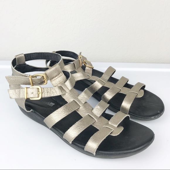 f9f94eeb166 Clarks Shoes - Clarks Gold Leather Gladiator Ankle Strap Sandals